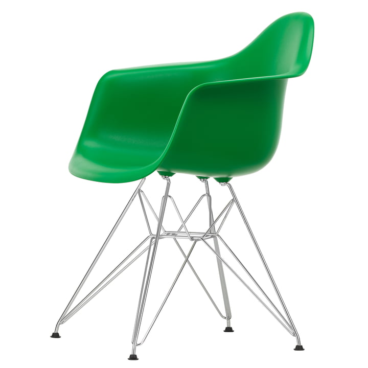 Eames Plastic Armchair DAR from Vitra in chrome / green