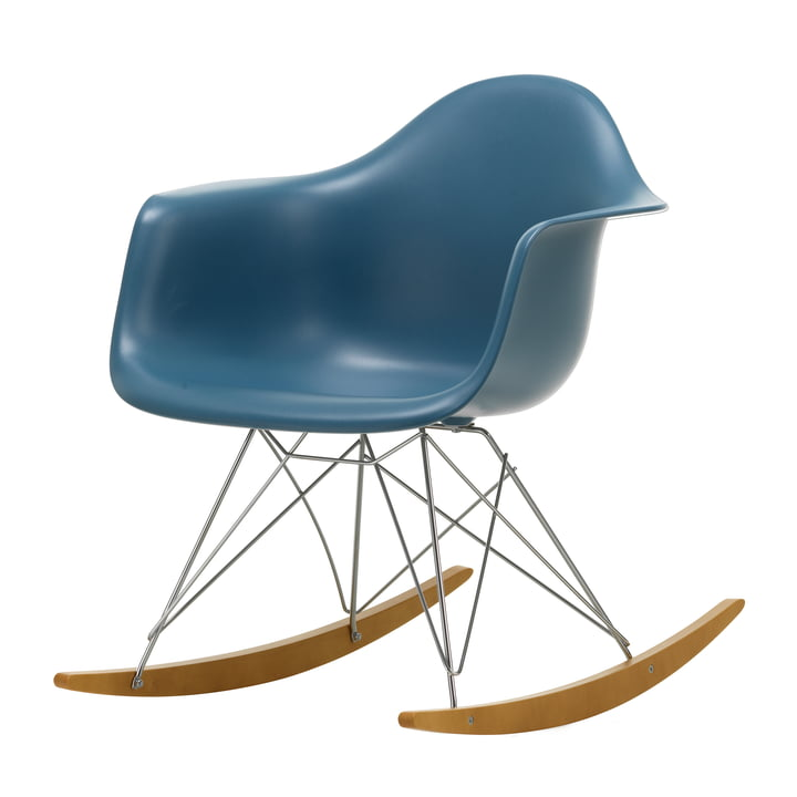 Eames Plastic Armchair RAR by Vitra in maple yellowish / chrome / sea blue