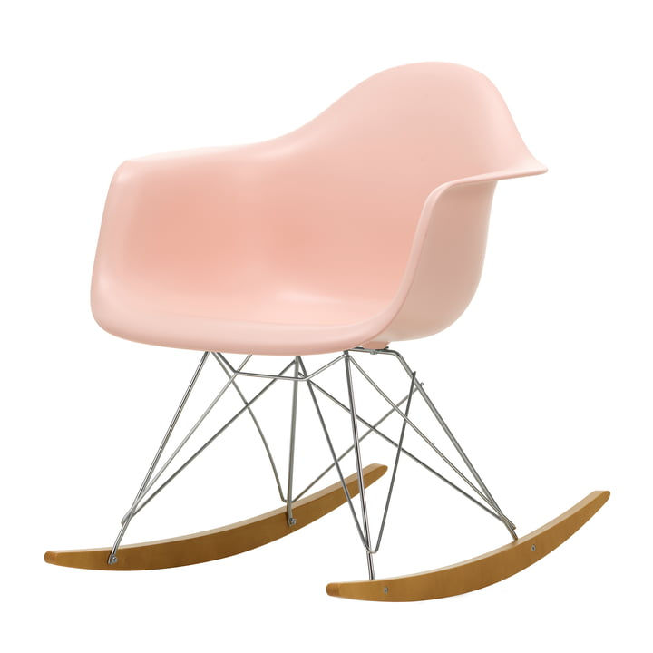 Eames Plastic Armchair RAR by Vitra in maple yellowish / chrome / soft pink