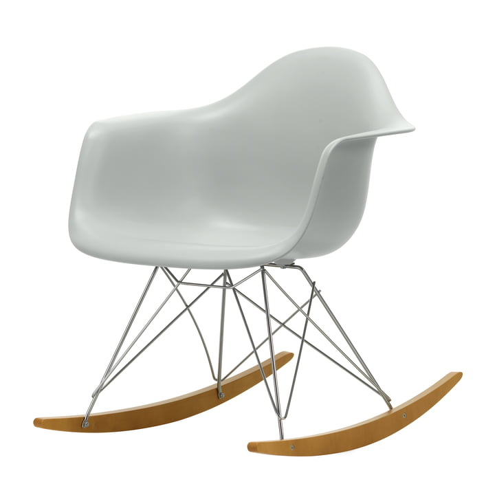 Eames Plastic Armchair RAR from Vitra in maple yellowish / chrome / light grey