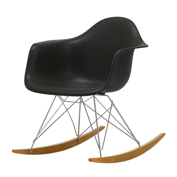 Eames Plastic Armchair RAR from Vitra in maple yellowish / chrome / deep black