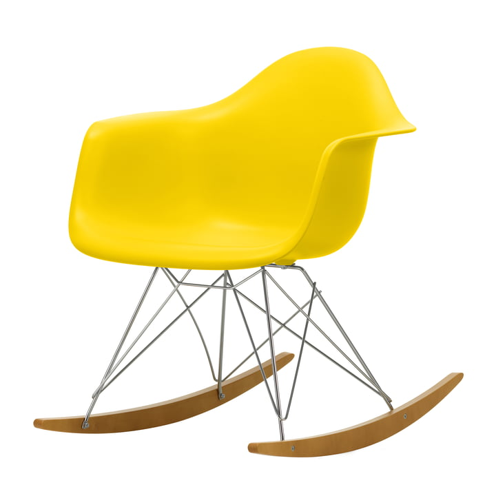 Eames Plastic Armchair RAR by Vitra in maple yellowish / chrome / sunlight