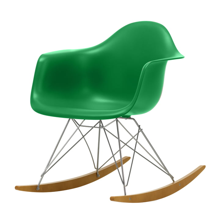 Eames Plastic Armchair RAR by Vitra in maple yellowish / chrome / green