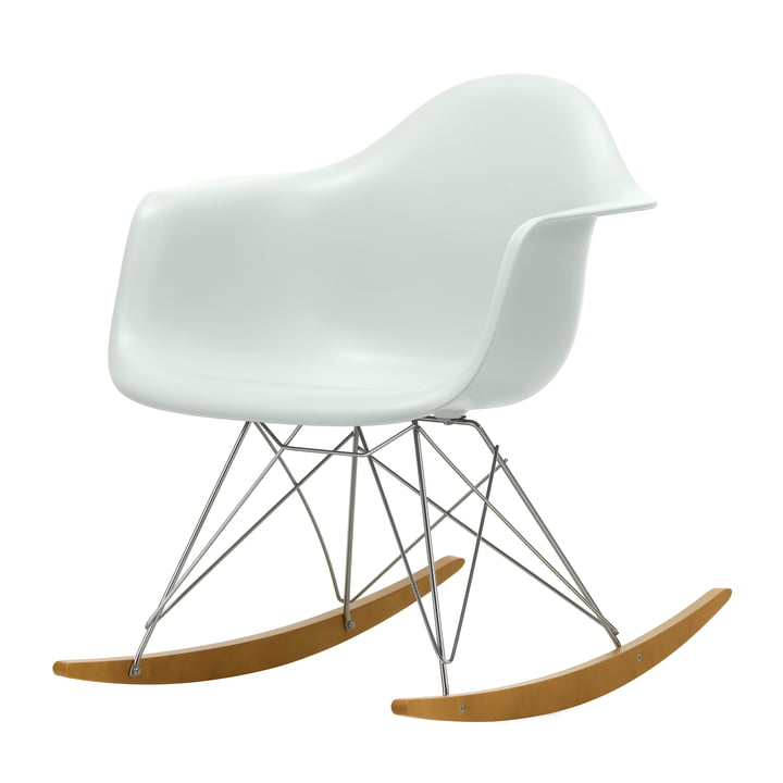 Eames Plastic Armchair RAR from Vitra in maple yellowish / chrome / pebble