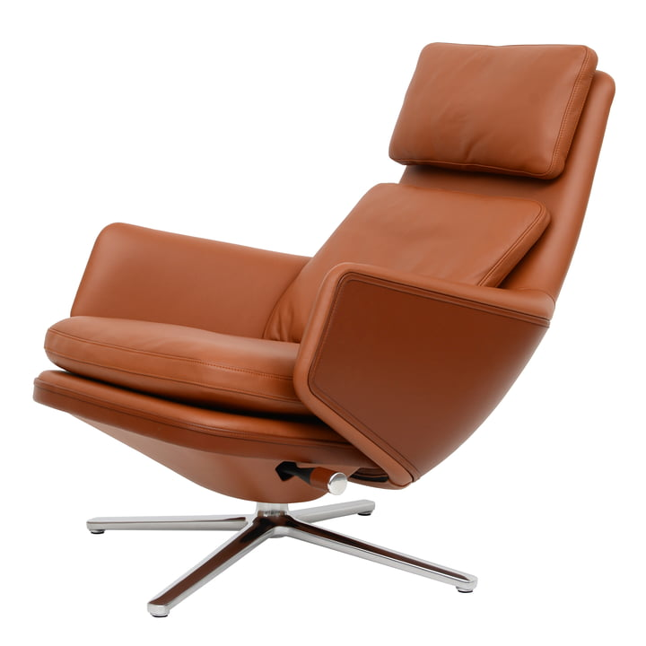 Grand Relax armchair by Vitra in polished aluminum / leather Premium cognac