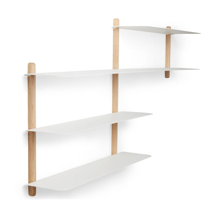 Nivo wall shelf B oak light / white by Gejst