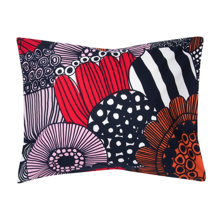 Siirtolapuutarha pillowcase from Marimekko in white / red / dark blue