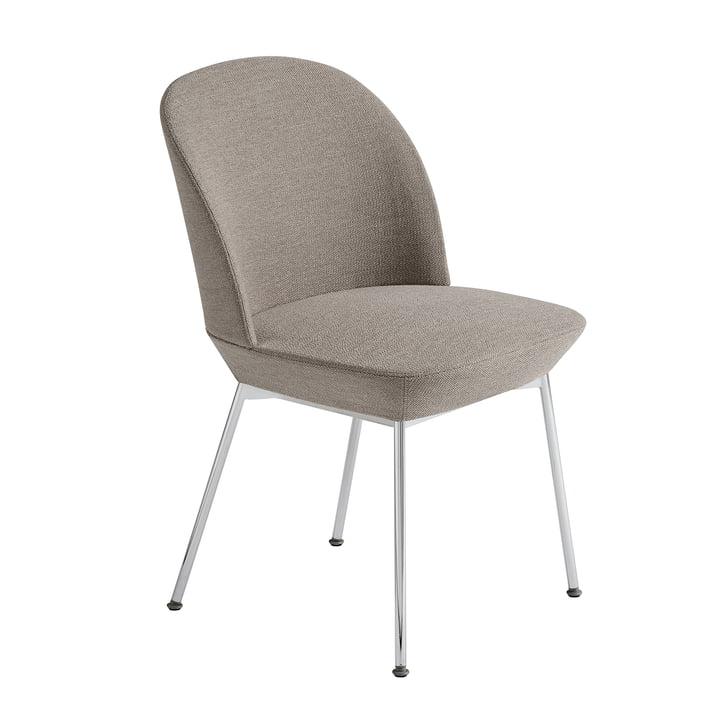 Oslo Side Chair in Chrome / Grey (Ocean 32) by Muuto