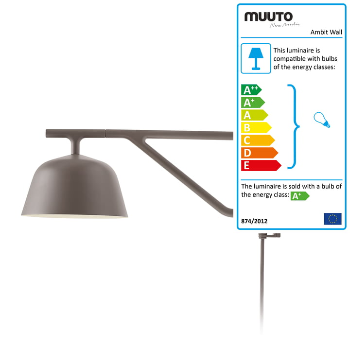 Ambit wall lamp in taupe by Muuto