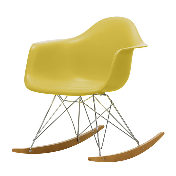 Eames Plastic Armchair RAR in maple yellowish / chrome / mustard (seat height: 37 cm) from Vitra