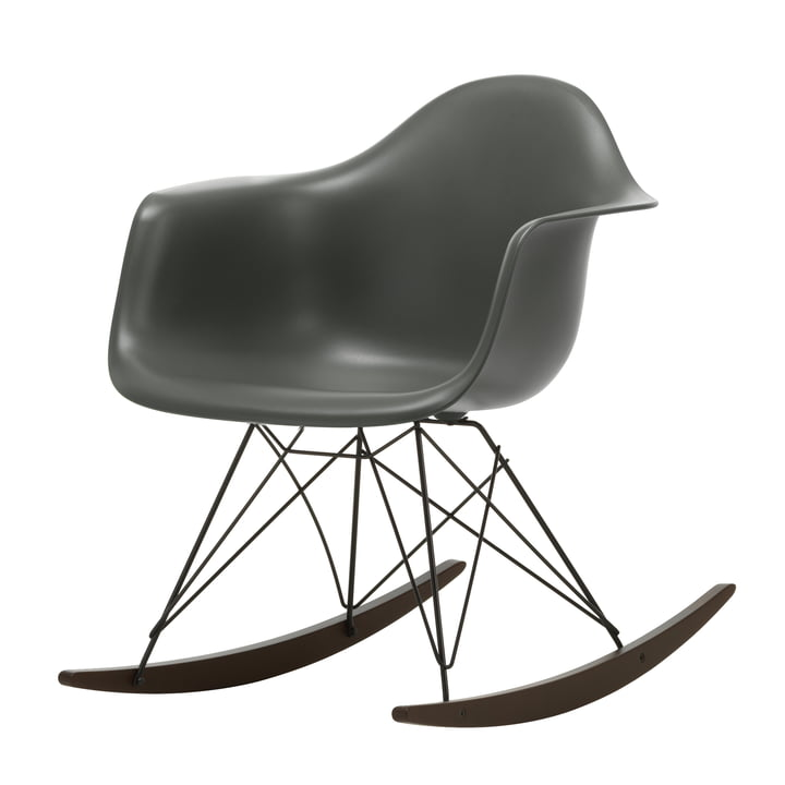 Eames Plastic Armchair RAR, Maple dark / granite grey / deep black (seat height: 37 cm) by Vitra