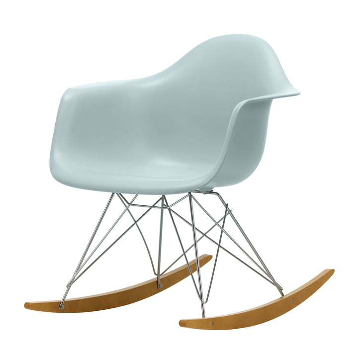 Eames Plastic Armchair RAR in maple yellowish / chrome / ice grey (seat height: 37 cm) by Vitra