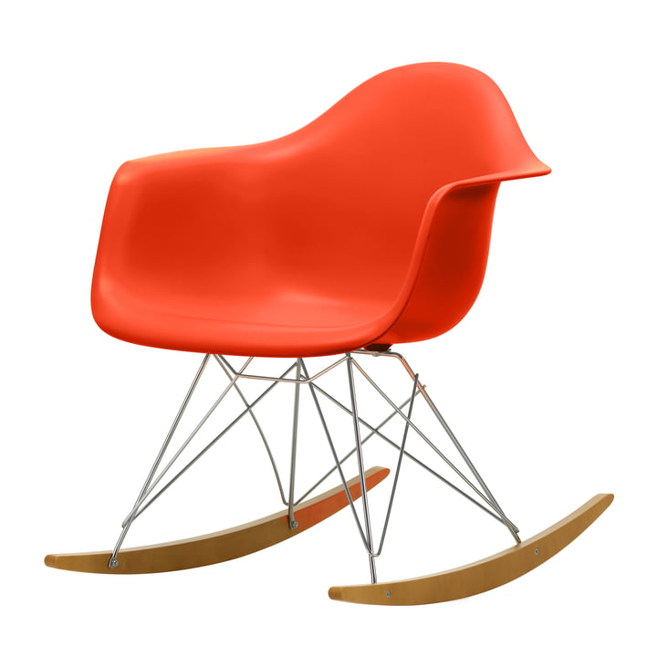 Eames Plastic Armchair RAR in maple yellowish / chrome / poppy red (seat height: 37 cm) from Vitra