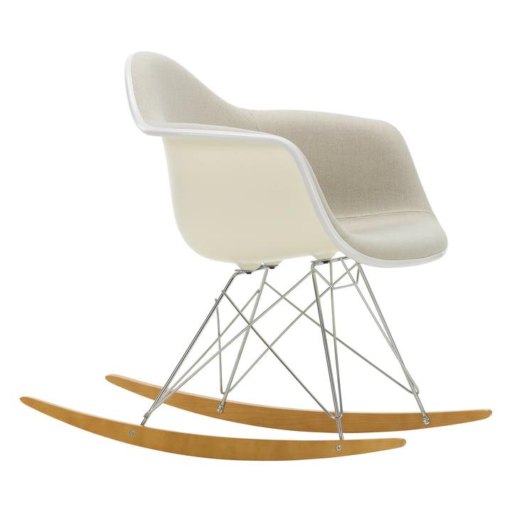 Eames Plastic Armchair RAR by Vitra in Maple yellowish / Chrome / Full upholstery Hopsak warmgrey/ivory / Seat shell cream / Keder white