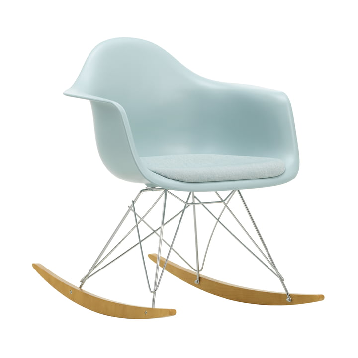 Eames Plastic Armchair RAR by Vitra in maple yellowish / chrome / seat cushion Hopsak ice blue / ivory / seat shell ice grey
