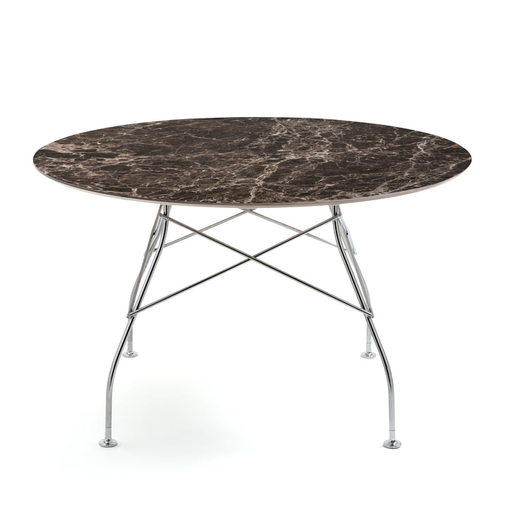 Glossy table Ø 128 x H 72 cm from Kartell in chromed / Emperador marble brown