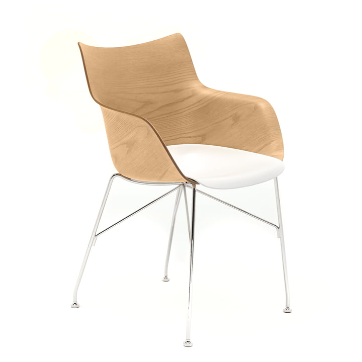 Q/Wood armchair from Kartell in chrome / white / light