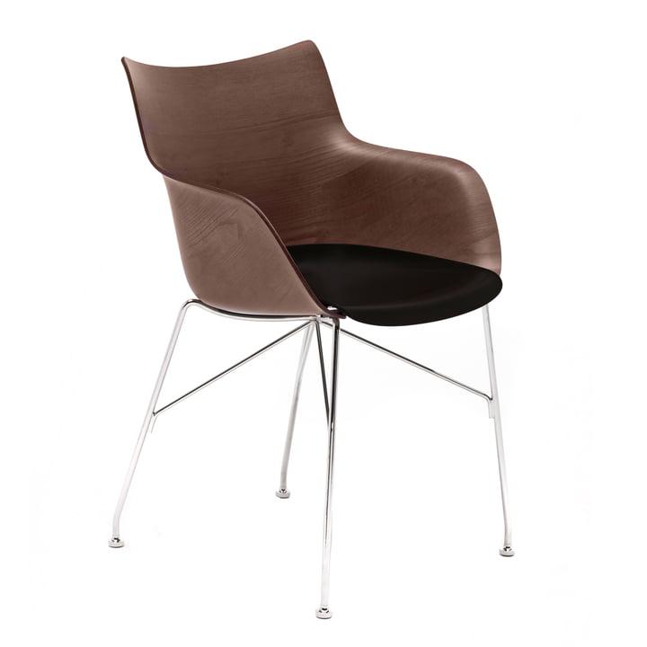 Q/Wood armchair by Kartell in chromed / black / dark