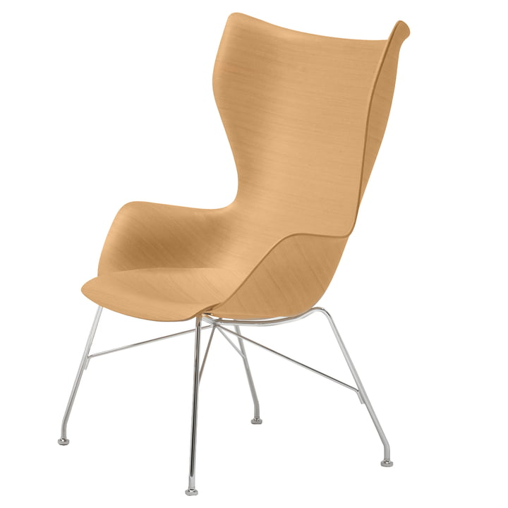 K/Wood armchair from Kartell in chrome-plated / bright