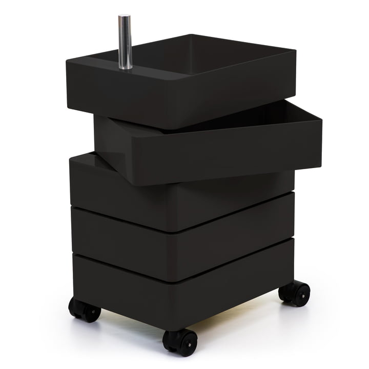 360° container 5 compartments in black by Magis