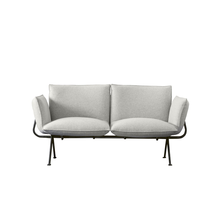 Officina 2-seater sofa, frame anthracite grey 5142 / cover light grey (Divina Melange 120) by Magis