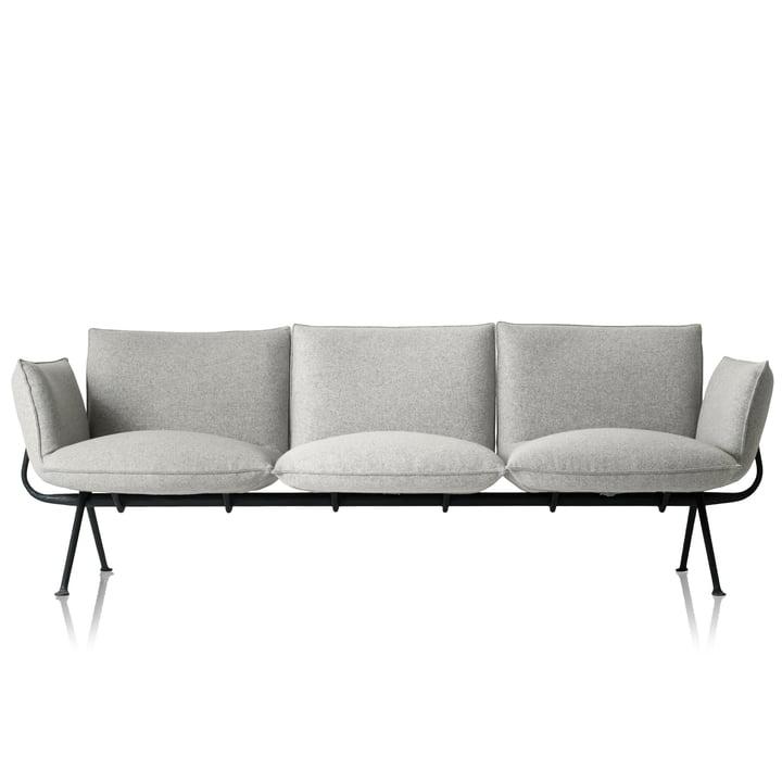 Officina 3-seater sofa, frame anthracite grey 5142 / cover light grey (Divina Melange 120) by Magis