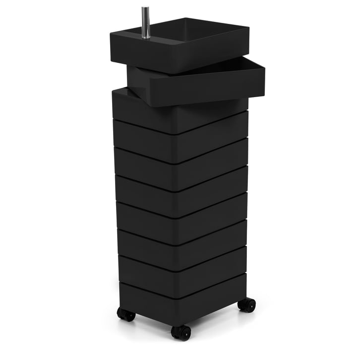 360° container 10 compartments in black by Magis