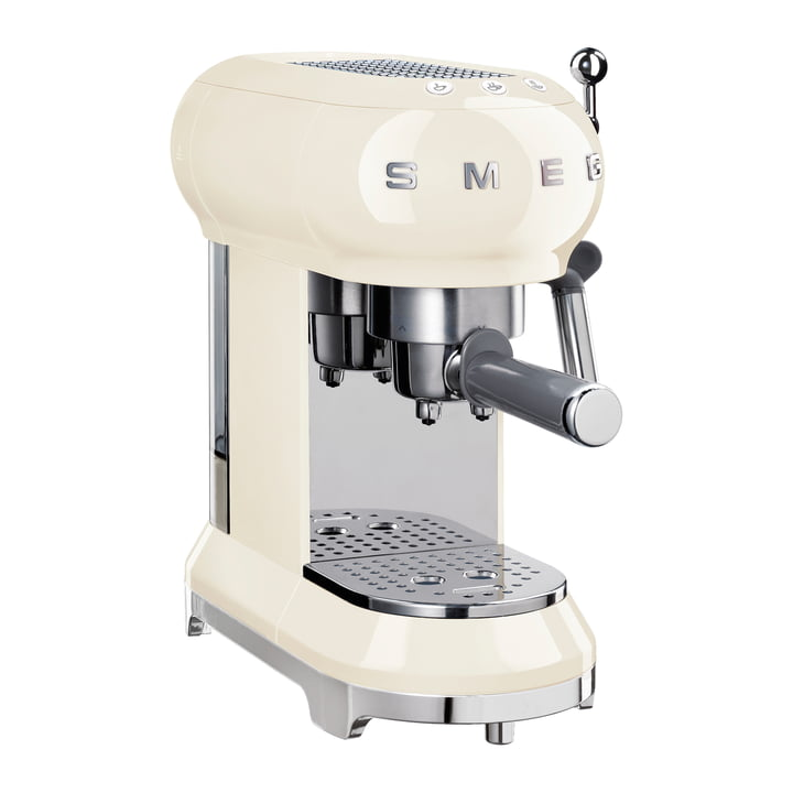 Espresso coffee machine with screen holder ECF01 in cream by Smeg