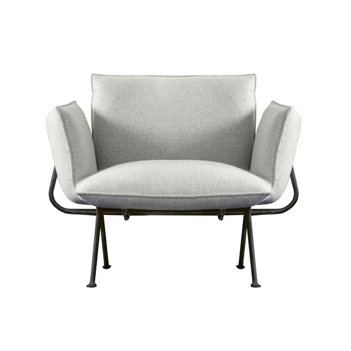 Officina armchair, frame anthracite grey 5142 / cover light grey (Divina Melange 120) by Magis