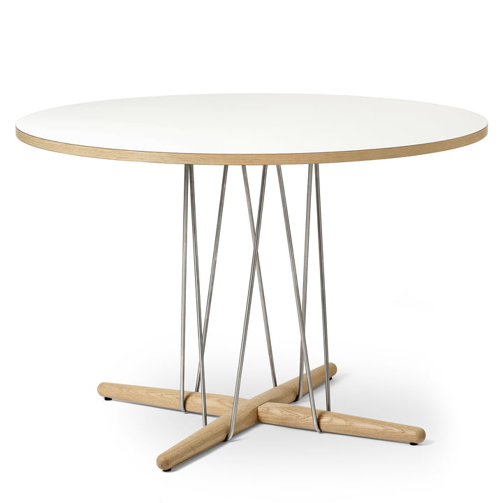 E020 Embrace table Ø 110 cm in oak white oiled / laminate white / steel chrome plated by Carl Hansen