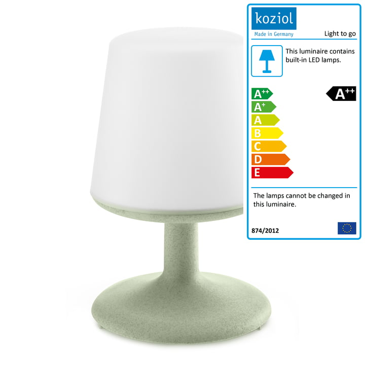 Light to go cordless table lamp in organic green from Koziol