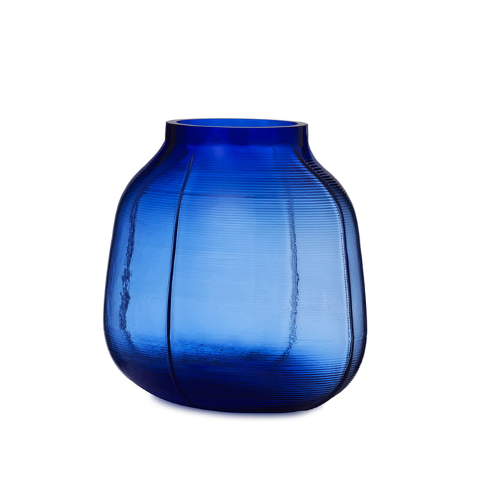 Step Vase H 23 cm in blue by Normann Copenhagen