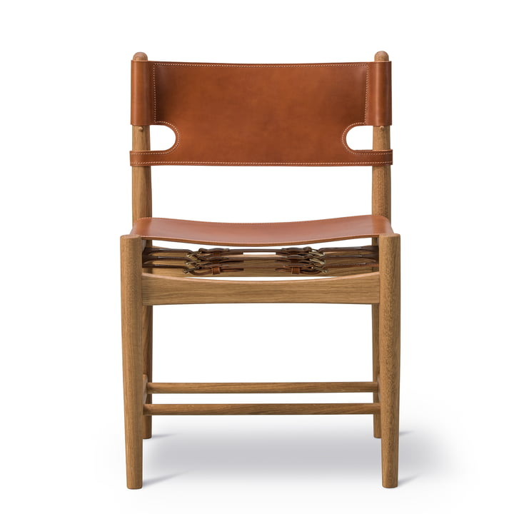 Spanish Dining Chair in smoked oak / Leather Cognac by Fredericia