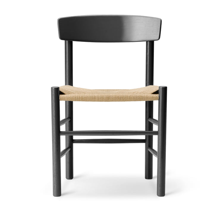 J39 Mogensen chair in oak black lacquered / string weave nature by Fredericia