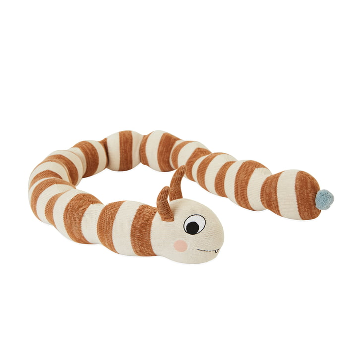 Leo Larva bed snake L 140 cm in offwhite / caramel by OYOY