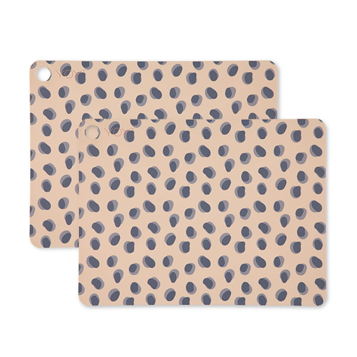 Table set Leopard Dots, 45 x 34 cm in camel (set of 2) by OYOY