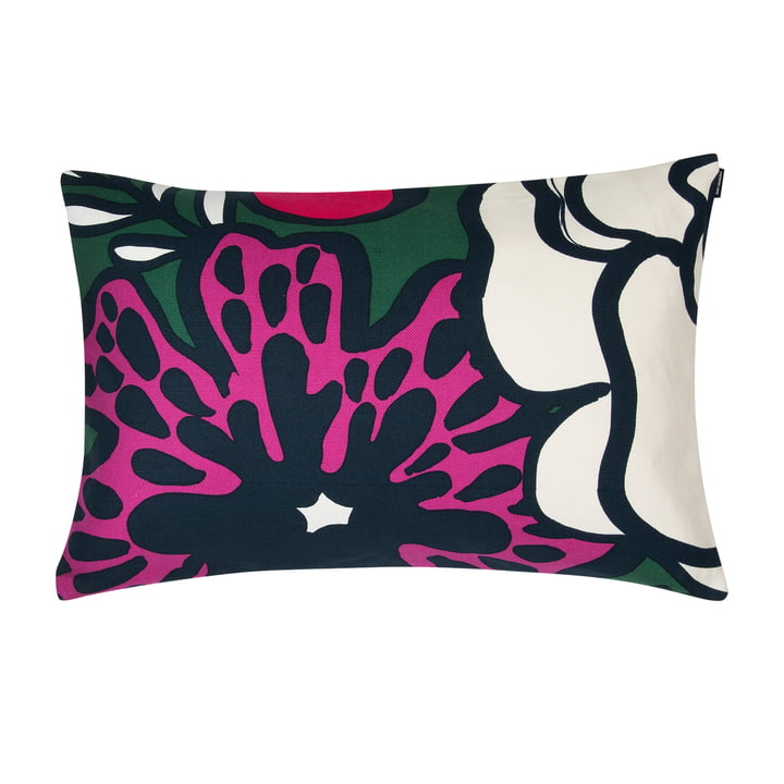 Eläköön Elämä cushion cover 40 x 60 cm from Marimekko in dark green / red / off-white