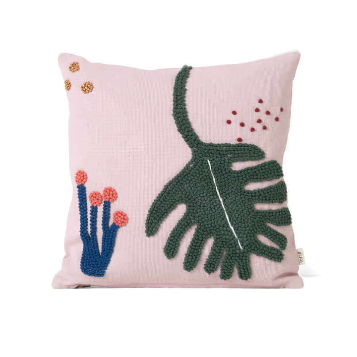 "Embroidered children's cushion ""leaf"" by ferm Living in pink"