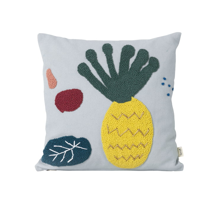 "Embroidered children pillow ""Pineapple"" by ferm Living in blue"