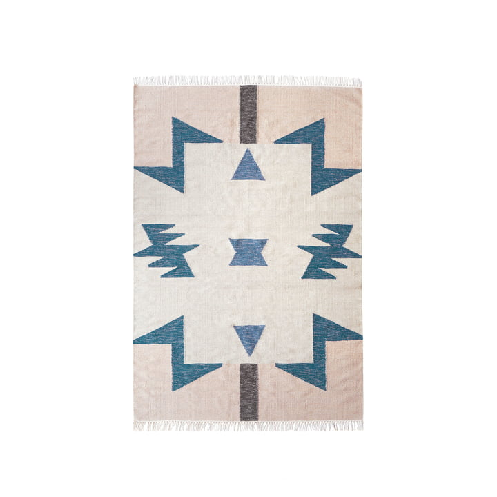 Kelim Rug Blue Triangles from ferm Living in small