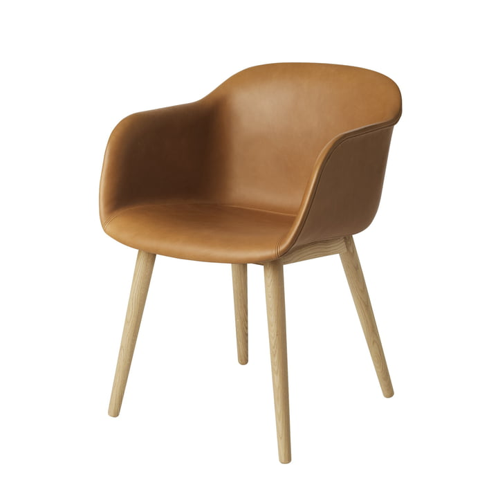 Fiber Chair Wood Base from Muuto in oak / silk leather cognac