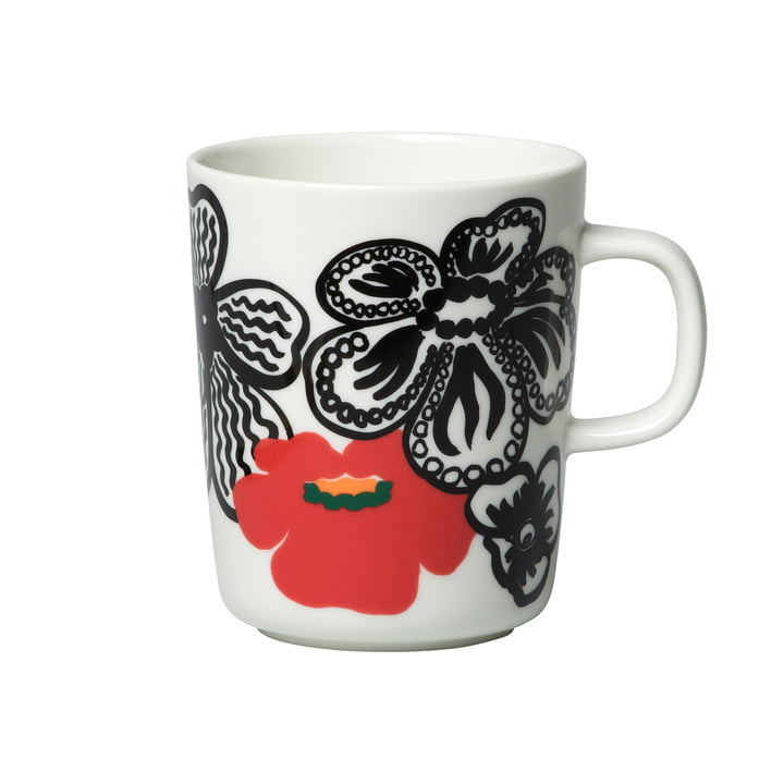 Oiva Kaukokaipuu cup with handle 250 ml from Marimekko in white / purple / red