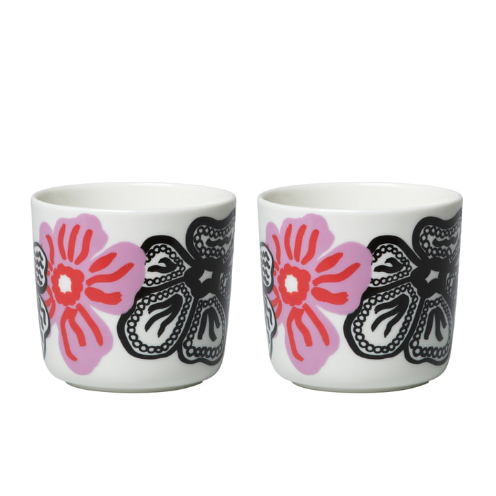Oiva Kaukokaipuu cup (set of 2) 200 ml from Marimekko in white / violet / red