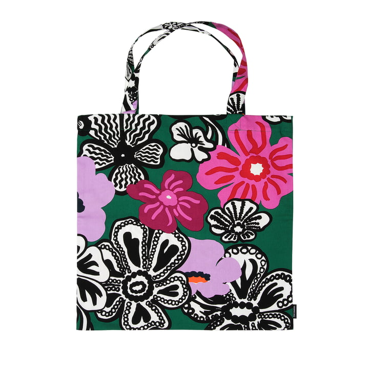 Kaukokaipuu shopping bag from Marimekko in green / purple / red