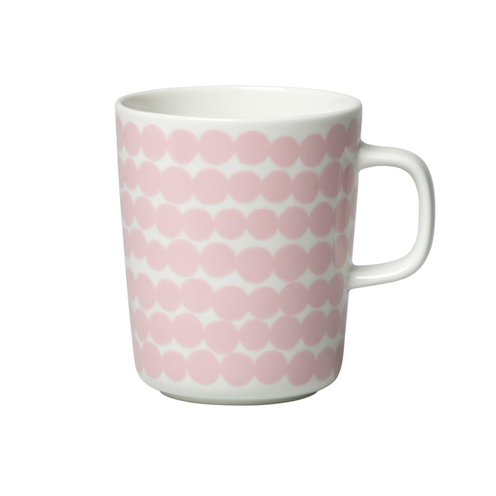 Oiva Räsymatto cup with handle 250 ml from Marimekko in white / pink