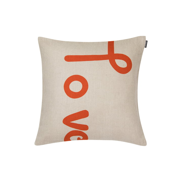Love pillowcase 40 x 40 cm from Marimekko in orange / beige