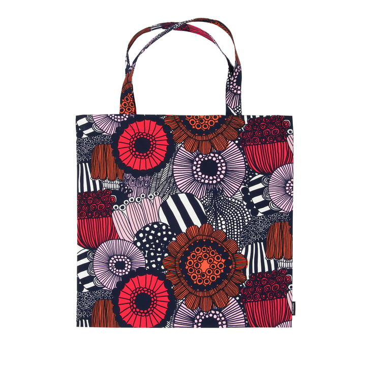 Pieni Siirtolapuutarha shopping bag by Marimekko in white / red / dark blue
