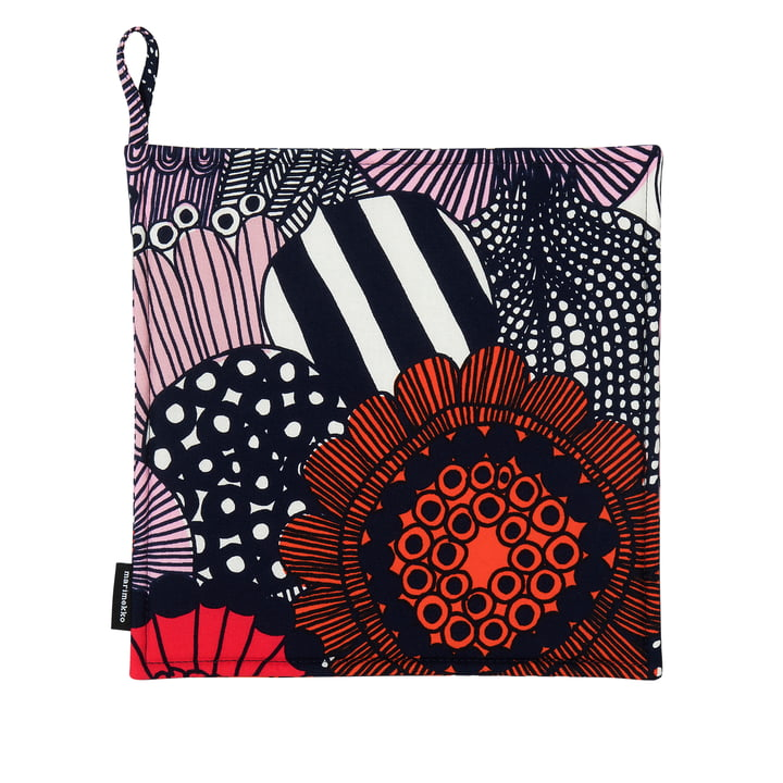 Pieni Siirtolapuutarha Potholder by Marimekko in white / red / dark blue