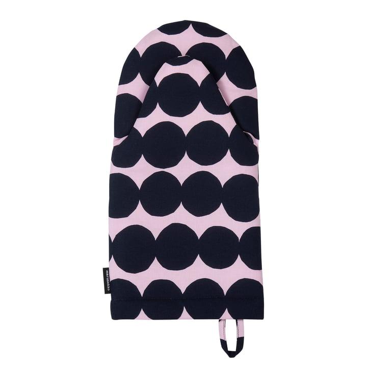 Räsymatto oven glove by Marimekko in pink / dark blue