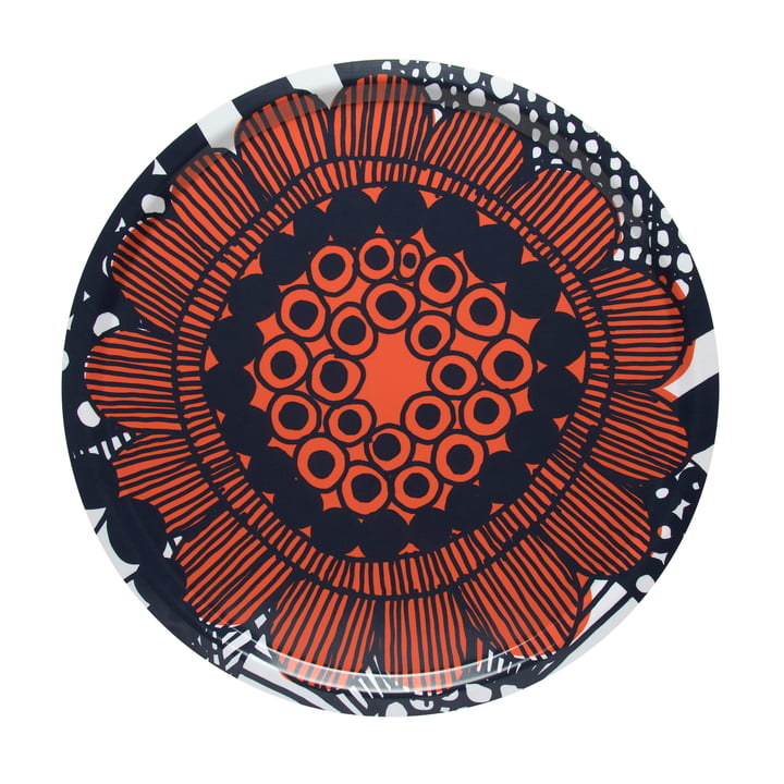 Siirtolapuutarha tray Ø 46 cm from Marimekko in orange / black / white